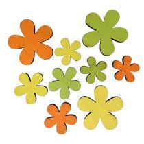 Flor de madera 2-3,5cm Naranja, Verde, Amarillo 36pcs