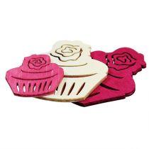 Magdalenas de madera decoración de la mesa colores pastel muffins decoración de cumpleaños 24 piezas