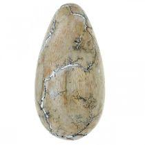 Huevo de Pascua Madera de mango Madera de Pascua natural lavada en blanco Al 16cm