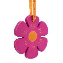 Percha de madera flor Ø8cm multicolor 12pcs