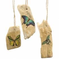Colgante madera flotante con mariposa 8-13cm 36p