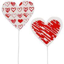 Corazón de madera en la varilla 7cm x 7cm blanco, rojo 12pcs