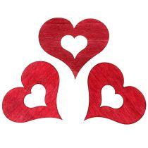 Corazón de madera para espolvorear rojo 4cm 72pcs
