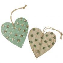 Corazón de madera para colgar verde / naturaleza 10cm 4pcs