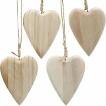 Corazones de madera para colgar natural 10cm 4pcs