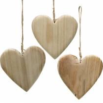 Corazón de madera para colgar naturaleza corazones decorativos San Valentín Día de la Madre 3 piezas