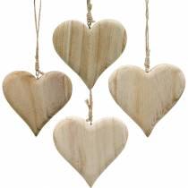 Corazón decorativo Corazón de madera de San Valentín para colgar decoración de madera natural 4pcs