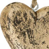 Corazón para colgar percha vintage de madera dorada 15cm