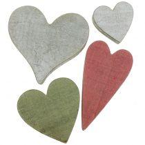 Corazones de madera gris / rojo / verde 3-6.5cm 8pcs