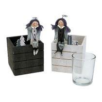 Caja de madera con ángel 8cm x 8cm gris, blanco 2pcs