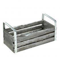 Caja de madera gris 20cm x 9cm H6cm con asas