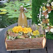 Caja de madera para plantar, macetero con asas, macetero con corteza 45,5cm