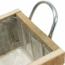 Caja de madera con asas natural 16,5 × 16,5cm