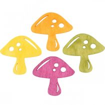Setas dispersas, decoraciones otoñales, setas de la suerte para decorar naranja, amarillo, verde, rosa H3.5 / 4cm W4 / 3cm 72pcs