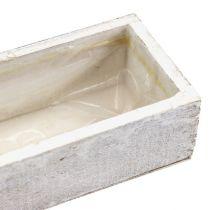 Cuenco de madera para plantar blanco 30cm x 9cm x 6cm