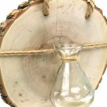 Disco de madera con florero de vidrio para colgar Ø22cm