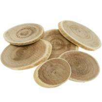 Discos de madera decorativos disco natural ovalado Ø4-7cm decoración de madera 400g
