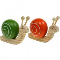 Caracoles de madera para decorar, primavera, caracol de jardín verde-naranja, decoración de mesa 6ud