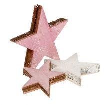 Estrella de madera 3-5cm rosa / blanco con brillo 24pcs