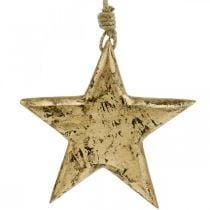 Estrella para colgar, decoración de madera con efecto dorado, Adviento 14cm × 14cm