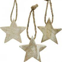 Estrella de madera decoraciones para árboles de Navidad natural, blanqueado 5cm 36pcs