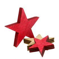 Estrellas de madera 3-5cm naturaleza / rojo 24pcs