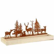 Bandeja de madera bosque con animales 35cm x 15cm