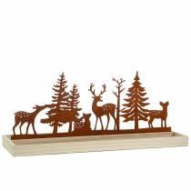 Bandeja de madera bosque con animales 50cm x 17cm