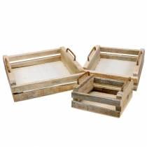 Bandeja de madera con asas cuadradas 30 × 30/24 × 24/18 × 18cm, juego de 3