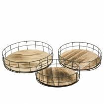 Bandeja decorativa madera redonda, metal natural Ø25 / 30 / 35cm, juego de 3