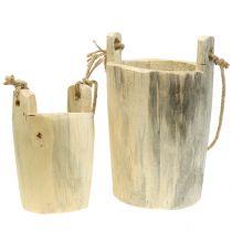 Maceta de madera para colgar la naturaleza 2pcs