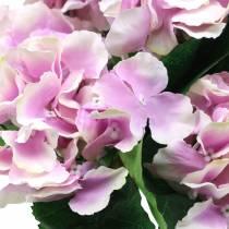 Hortensia de flores de seda en maceta lila 35cm