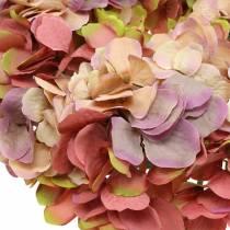 Guirnalda de hortensias rosa antigua Ø30cm