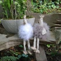 Decoración de Pascua par de pollos, asientos de borde, resorte, pollos decorativos con plumas 2 piezas