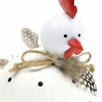 Figurín para decorar Pollo blanco con lunares y plumas Al. 13 cm