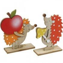 Figura de otoño, erizo con manzana y seta, decoración de madera naranja / rojo H24 / 23.5cm juego de 2