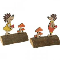 Erizo con setas, figura otoñal, pareja de erizos de madera amarillo / naranja Al11cm L10 / 10.5cm juego de 2