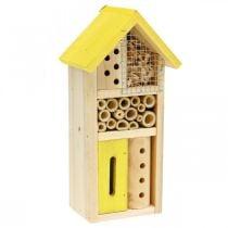 Caja nido para jardín de insectos de madera amarilla para hotel de insectos Al 26cm
