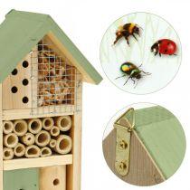Casa de insectos de jardín de ayuda de nido de madera verde para hotel de insectos Al 26cm