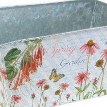 Jardinera jardinera de metal decoración de primavera 20 × 12 × 10cm