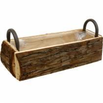 Jardinera jardinera de corteza con asas caja de madera natural