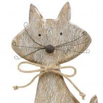 Figura de madera gato naturaleza, blanco 37cm