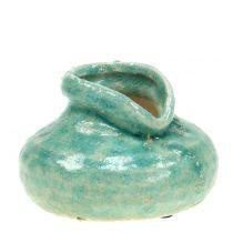 Florero de cerámica azul antiguo H9cm