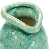 Florero de cerámica azul antiguo H21cm