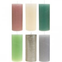 Velas de pilar coloreadas a través de diferentes colores 85 × 200mm 2 piezas