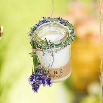 Vela decorativa de cristal con tapa Vela de cera Pure Nature cera de abejas aceite de oliva