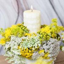 Velas rústicas, velas de cera blanca, canasta de velas de pilar patrón 110/65 2 piezas
