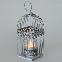 Decoración de velas, jaula de pájaros con cristal candelita, farol de metal, decoración de bodas, farol 22cm