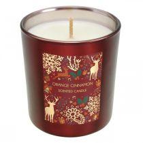 Vela navideña perfumada naranja, vela canela cristal rojo Ø7 / Al8cm