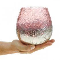 Farol de cristal, portavelas, decoración de mesa, vela de cristal rosa / plateado Ø15cm H15cm